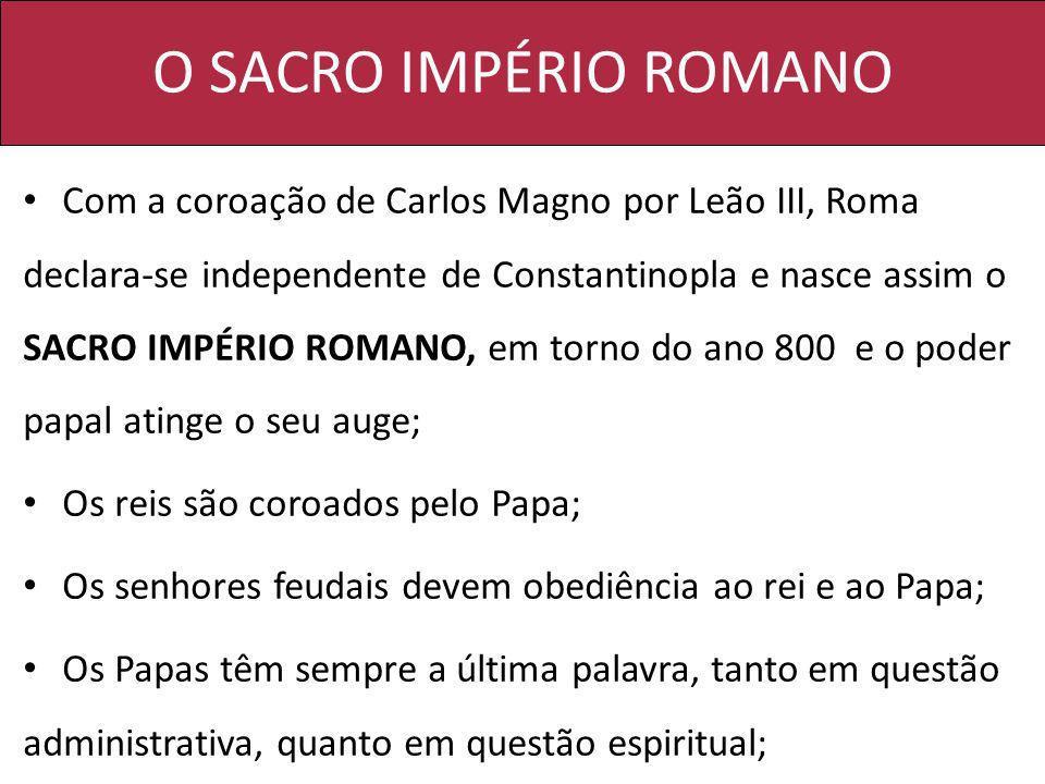O SACRO IMPÉRIO ROMANO Com a coroação de Carlos Magno por Leão III, Roma declara-se independente de Constantinopla e nasce assim o SACRO IMPÉRIO ROMAN
