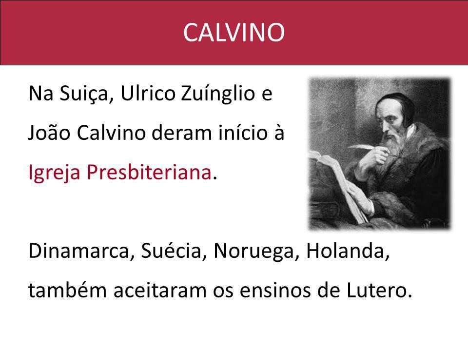 CALVINO Na Suiça, Ulrico Zuínglio e João Calvino deram início à Igreja Presbiteriana. Dinamarca, Suécia, Noruega, Holanda, também aceitaram os ensinos