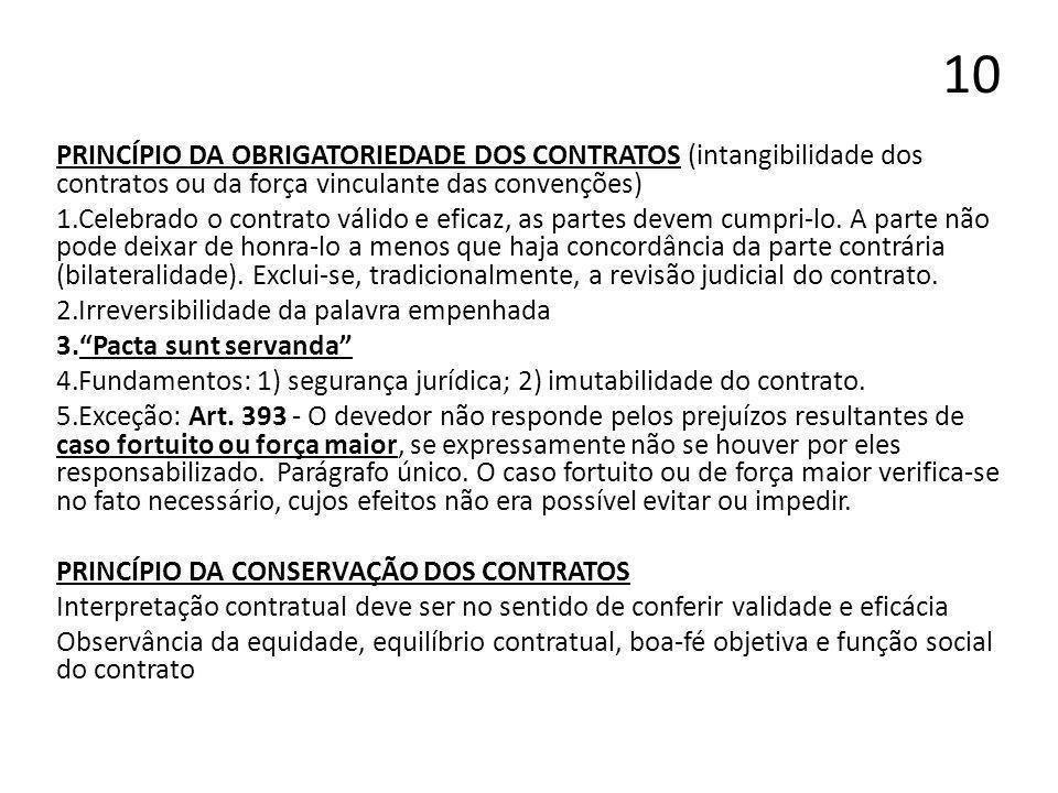 10 PRINCÍPIO DA OBRIGATORIEDADE DOS CONTRATOS (intangibilidade dos contratos ou da força vinculante das convenções) 1.Celebrado o contrato válido e ef
