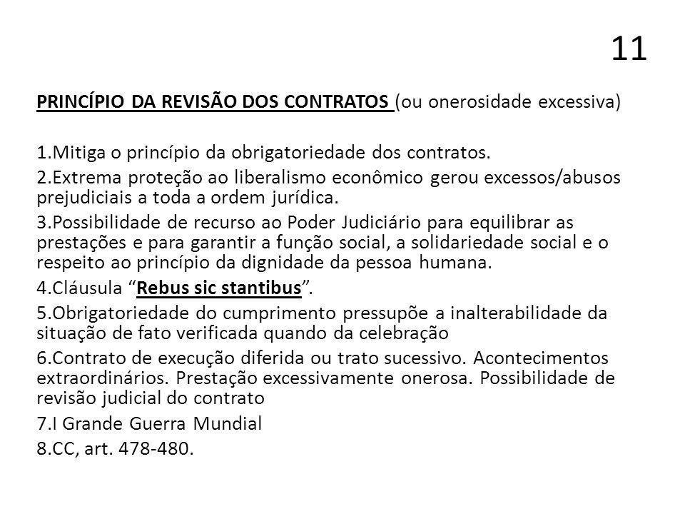 11 PRINCÍPIO DA REVISÃO DOS CONTRATOS (ou onerosidade excessiva) 1.Mitiga o princípio da obrigatoriedade dos contratos. 2.Extrema proteção ao liberali