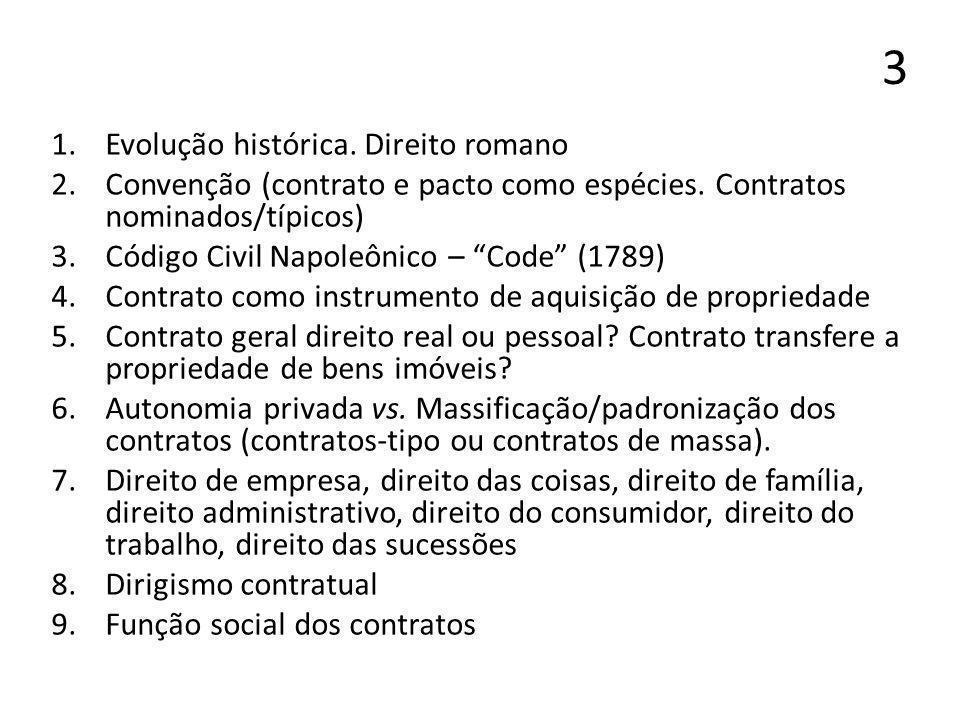3 1.Evolução histórica. Direito romano 2.Convenção (contrato e pacto como espécies. Contratos nominados/típicos) 3.Código Civil Napoleônico – Code (17