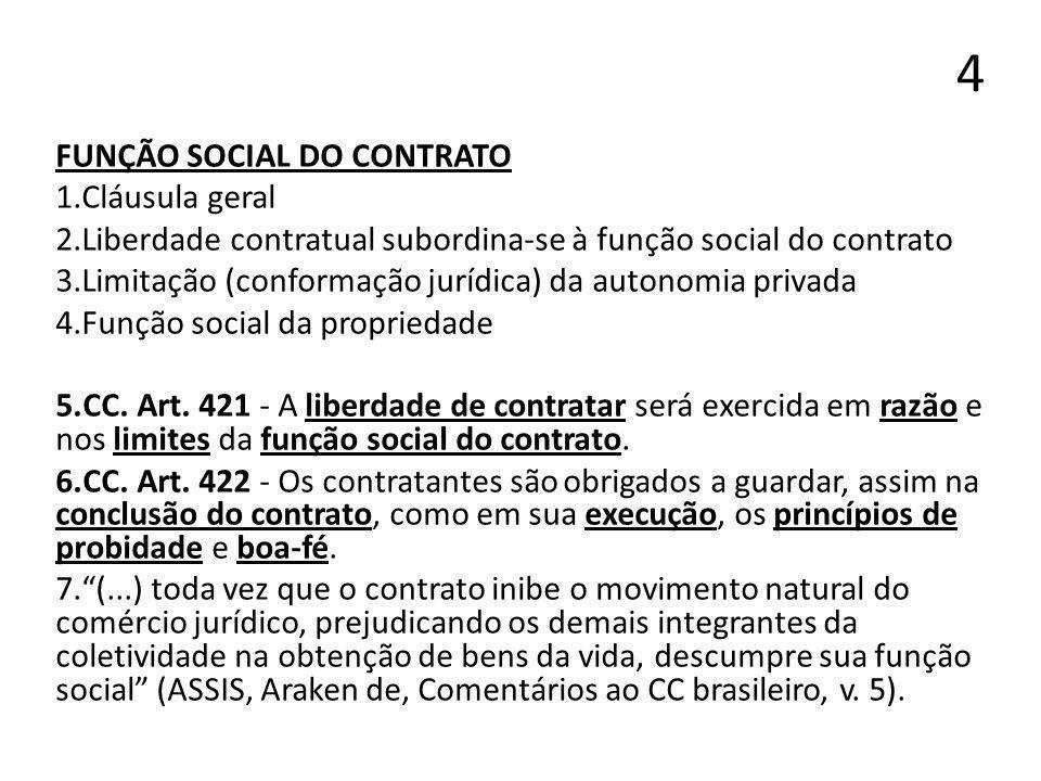 4 FUNÇÃO SOCIAL DO CONTRATO 1.Cláusula geral 2.Liberdade contratual subordina-se à função social do contrato 3.Limitação (conformação jurídica) da aut