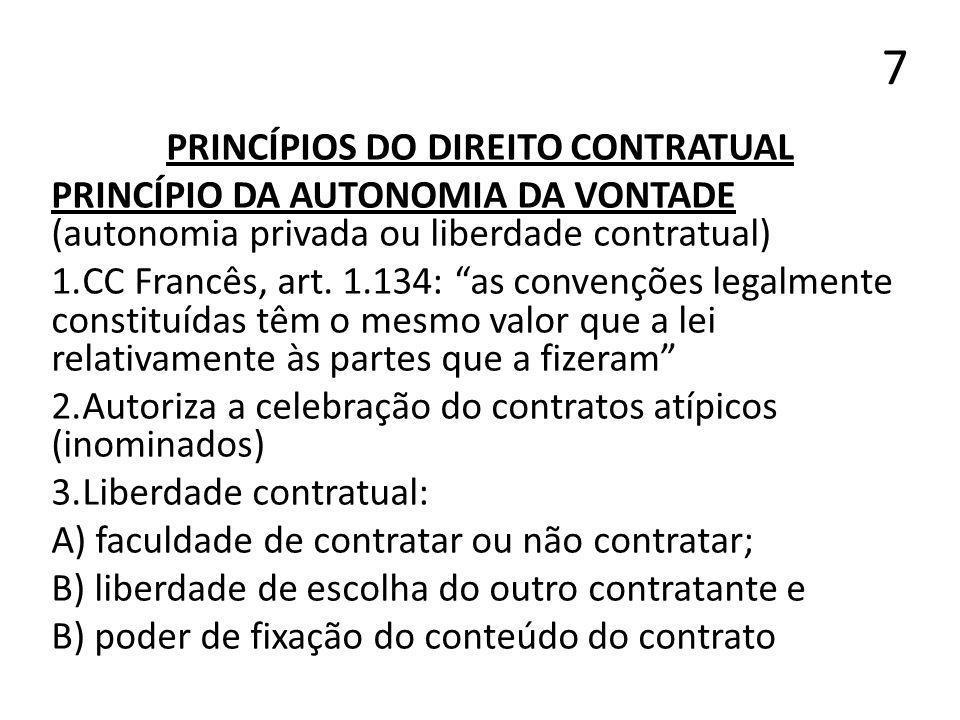 7 PRINCÍPIOS DO DIREITO CONTRATUAL PRINCÍPIO DA AUTONOMIA DA VONTADE (autonomia privada ou liberdade contratual) 1.CC Francês, art. 1.134: as convençõ