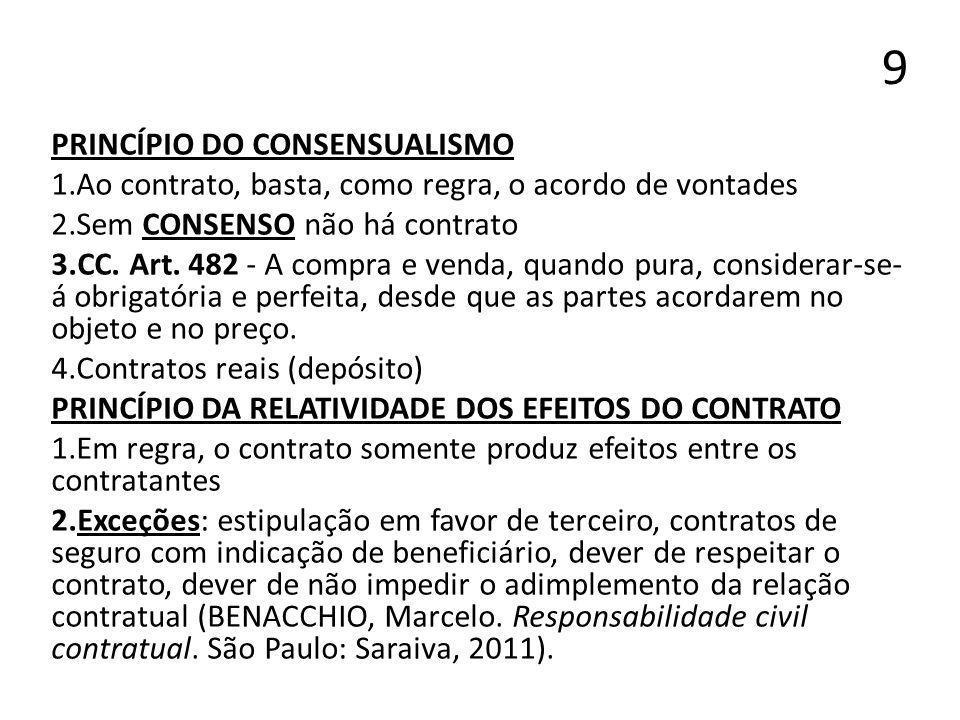 9 PRINCÍPIO DO CONSENSUALISMO 1.Ao contrato, basta, como regra, o acordo de vontades 2.Sem CONSENSO não há contrato 3.CC. Art. 482 - A compra e venda,
