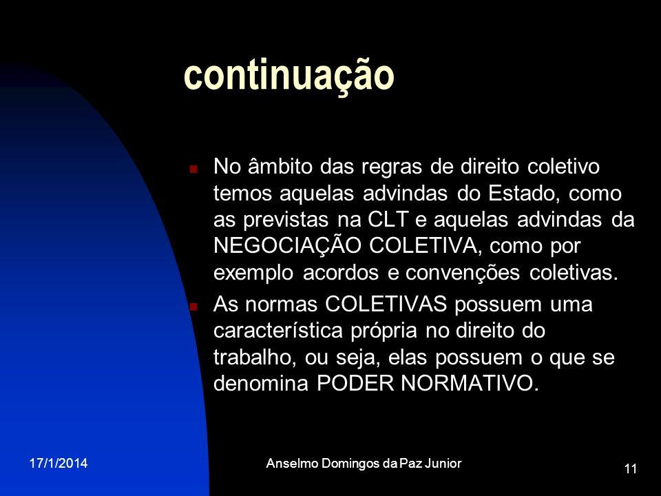 17/1/2014Anselmo Domingos da Paz Junior 11 continuação No âmbito das regras de direito coletivo temos aquelas advindas do Estado, como as previstas na