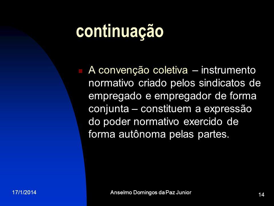 17/1/2014Anselmo Domingos da Paz Junior 14 continuação A convenção coletiva – instrumento normativo criado pelos sindicatos de empregado e empregador