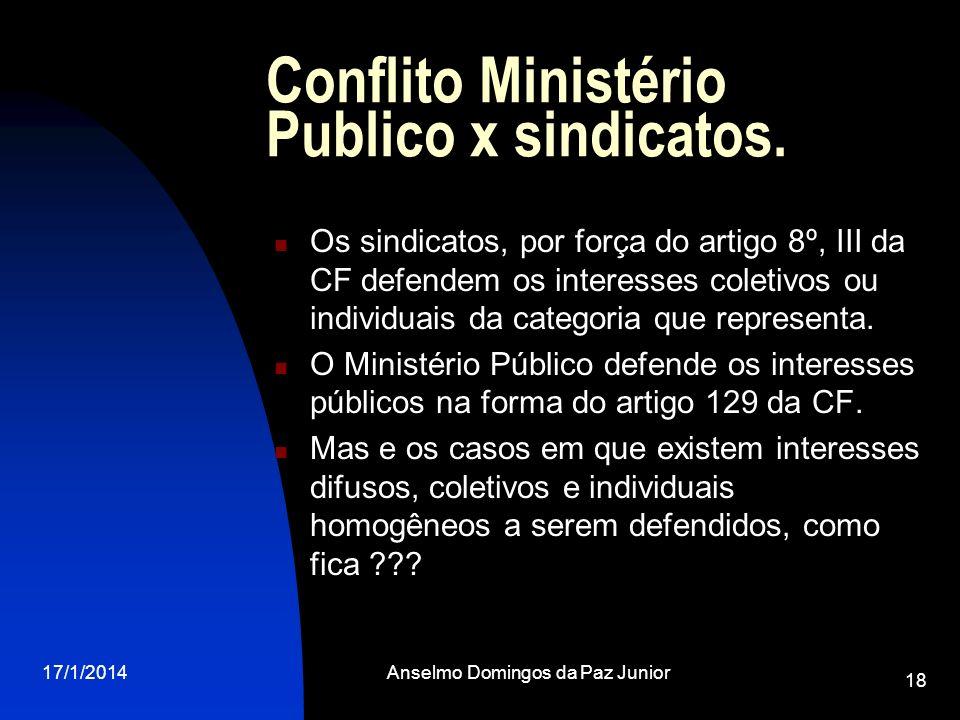17/1/2014Anselmo Domingos da Paz Junior 18 Conflito Ministério Publico x sindicatos. Os sindicatos, por força do artigo 8º, III da CF defendem os inte