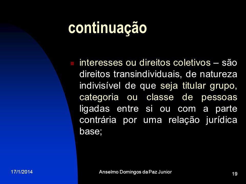 17/1/2014Anselmo Domingos da Paz Junior 19 continuação interesses ou direitos coletivos – são direitos transindividuais, de natureza indivisível de qu