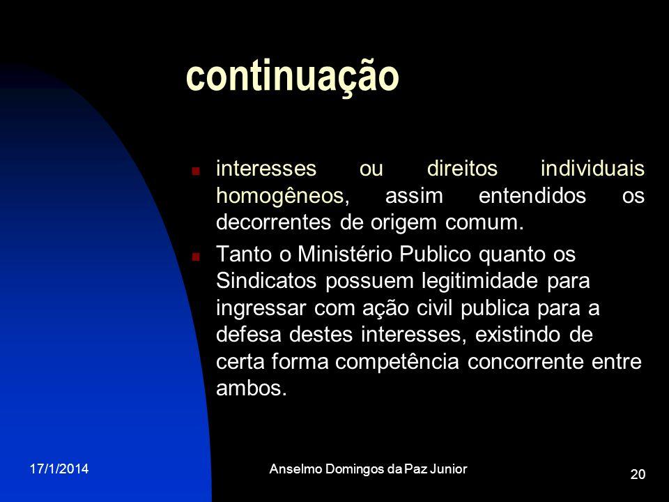 17/1/2014Anselmo Domingos da Paz Junior 20 continuação interesses ou direitos individuais homogêneos, assim entendidos os decorrentes de origem comum.