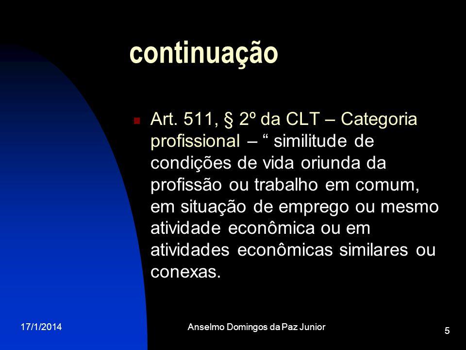 17/1/2014Anselmo Domingos da Paz Junior 5 continuação Art. 511, § 2º da CLT – Categoria profissional – similitude de condições de vida oriunda da prof