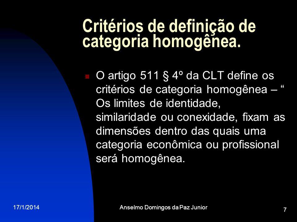 17/1/2014Anselmo Domingos da Paz Junior 7 Critérios de definição de categoria homogênea. O artigo 511 § 4º da CLT define os critérios de categoria hom