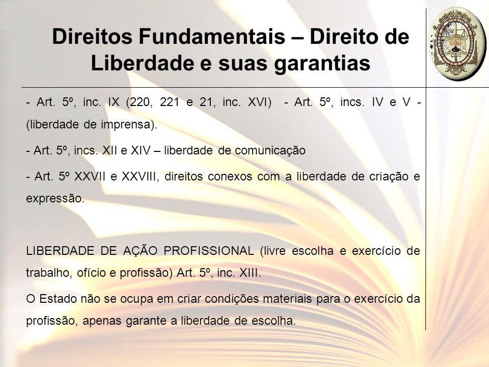 Direitos Fundamentais – Direito de Liberdade e suas garantias - Art. 5º, inc. IX (220, 221 e 21, inc. XVI) - Art. 5º, incs. IV e V - (liberdade de imp