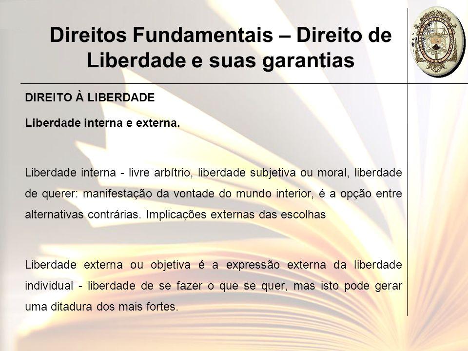 Direitos Fundamentais – Direito de Liberdade e suas garantias DIREITO À LIBERDADE Liberdade interna e externa. Liberdade interna - livre arbítrio, lib