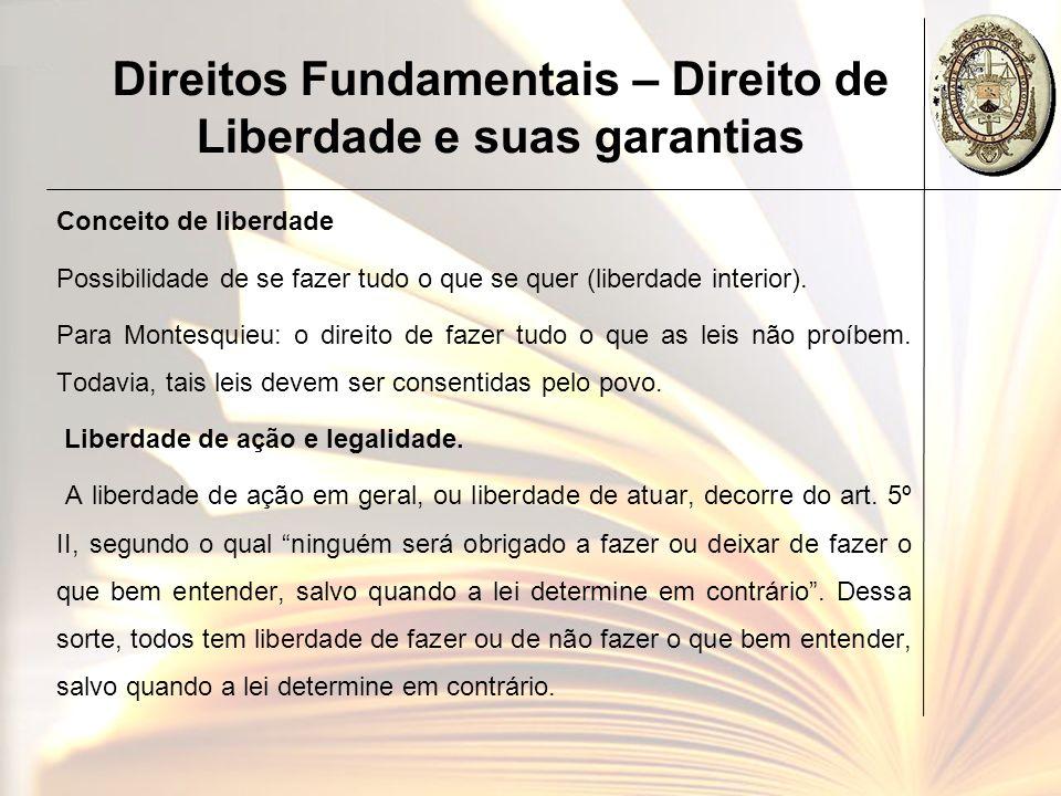 Direitos Fundamentais – Direito de Liberdade e suas garantias A legitimidade da lei: Deve prover de um legislativo formado pelo povo de forma livre, segundo processo estabelecido em Constituição também emanada da soberania popular.