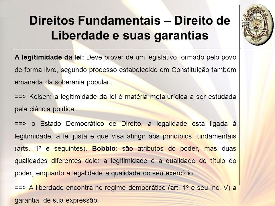 Direitos Fundamentais – Direito de Liberdade e suas garantias A legitimidade da lei: Deve prover de um legislativo formado pelo povo de forma livre, s