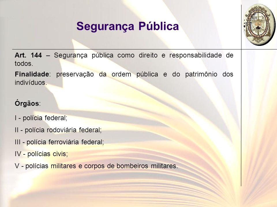 Segurança Pública Art. 144 – Segurança pública como direito e responsabilidade de todos. Finalidade: preservação da ordem pública e do patrimônio dos