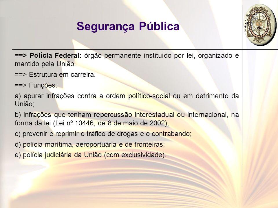 Segurança Pública ==> Polícia Federal: órgão permanente instituído por lei, organizado e mantido pela União. ==> Estrutura em carreira. ==> Funções: a
