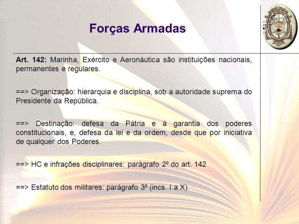 Forças Armadas Art. 142: Marinha, Exército e Aeronáutica são instituições nacionais, permanentes e regulares. ==> Organização: hierarquia e disciplina