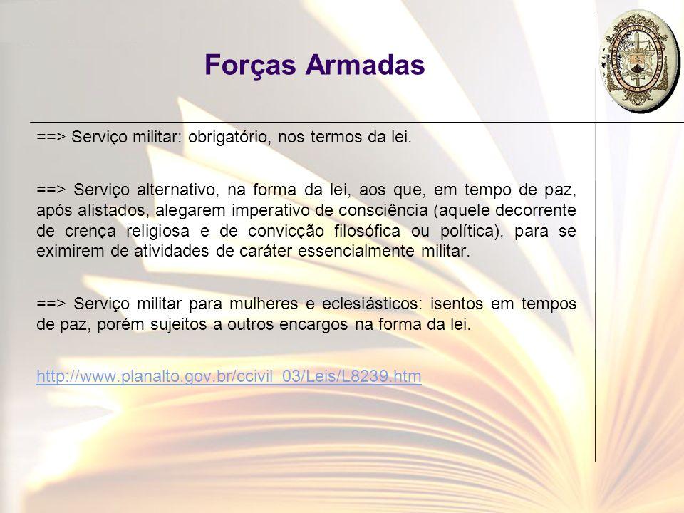 Forças Armadas ==> Serviço militar: obrigatório, nos termos da lei. ==> Serviço alternativo, na forma da lei, aos que, em tempo de paz, após alistados