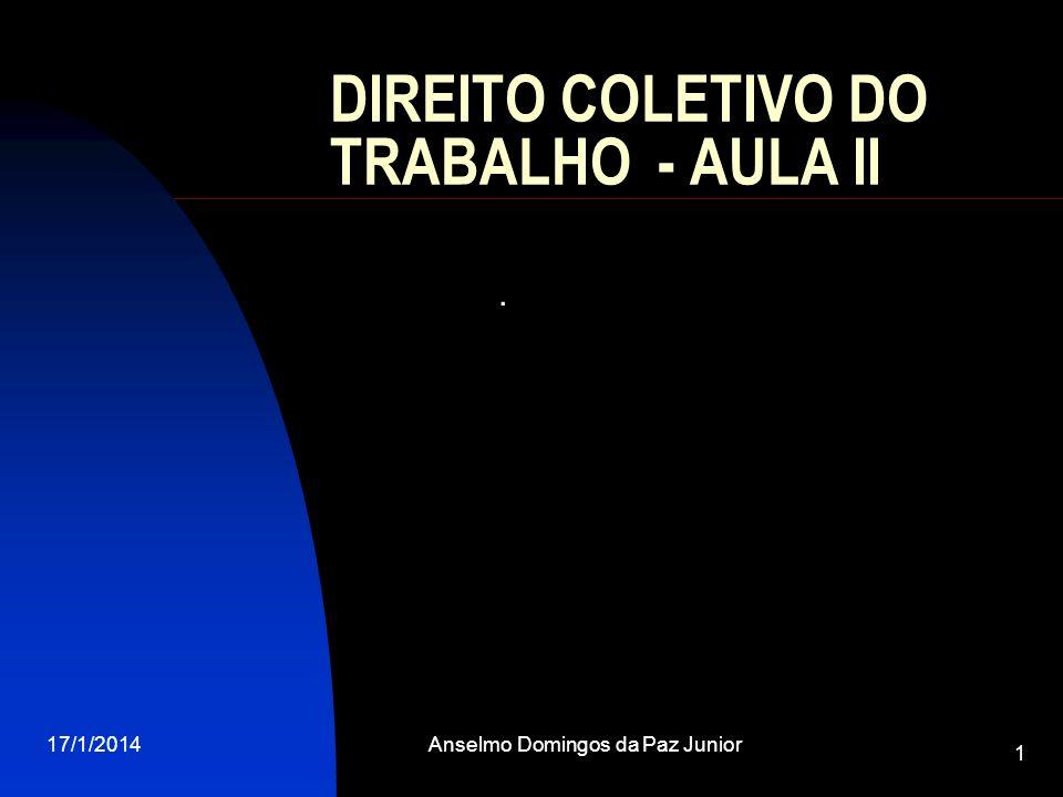 17/1/2014Anselmo Domingos da Paz Junior 1 DIREITO COLETIVO DO TRABALHO - AULA II.