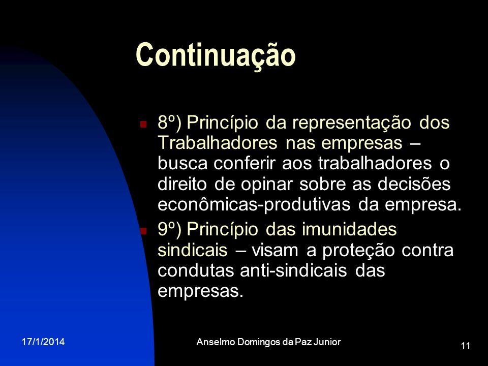 17/1/2014Anselmo Domingos da Paz Junior 11 Continuação 8º) Princípio da representação dos Trabalhadores nas empresas – busca conferir aos trabalhadore