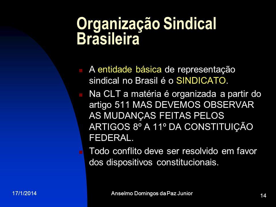 17/1/2014Anselmo Domingos da Paz Junior 14 Organização Sindical Brasileira A entidade básica de representação sindical no Brasil é o SINDICATO. Na CLT