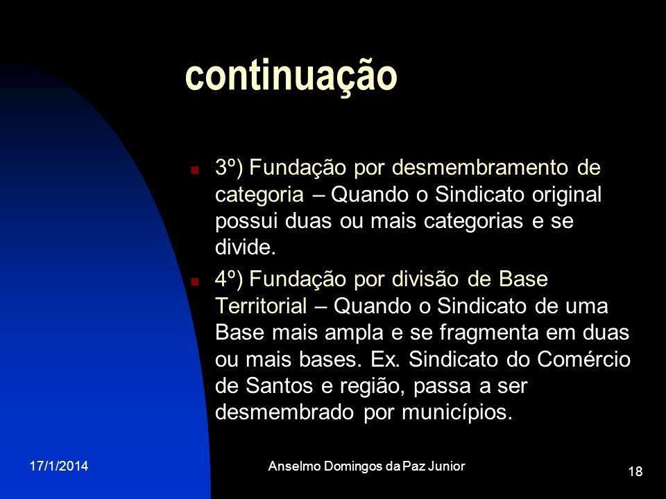 17/1/2014Anselmo Domingos da Paz Junior 18 continuação 3º) Fundação por desmembramento de categoria – Quando o Sindicato original possui duas ou mais