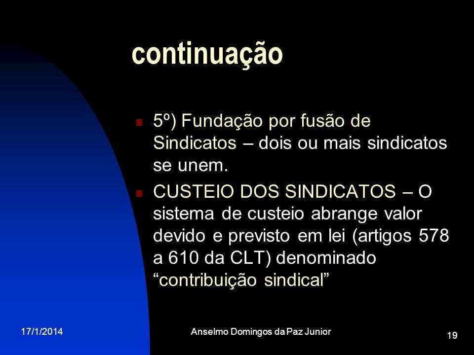 17/1/2014Anselmo Domingos da Paz Junior 19 continuação 5º) Fundação por fusão de Sindicatos – dois ou mais sindicatos se unem. CUSTEIO DOS SINDICATOS