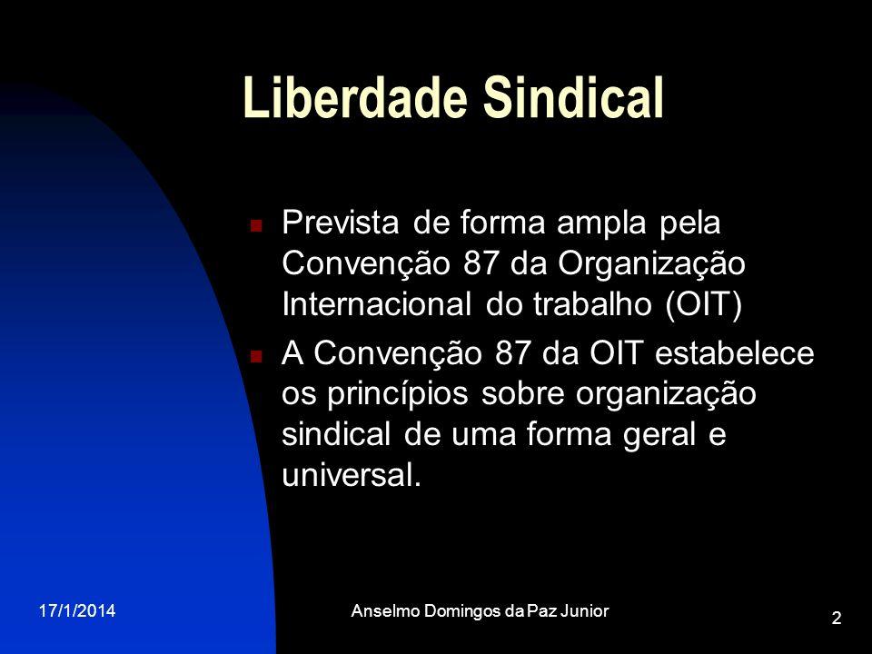 17/1/2014Anselmo Domingos da Paz Junior 2 Liberdade Sindical Prevista de forma ampla pela Convenção 87 da Organização Internacional do trabalho (OIT)