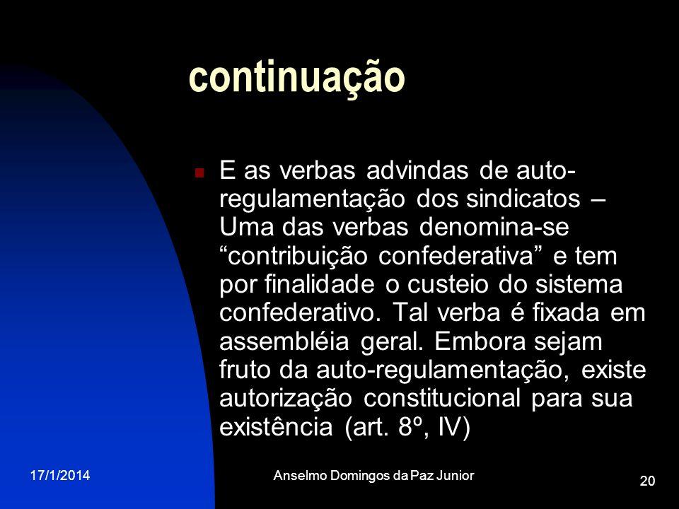 17/1/2014Anselmo Domingos da Paz Junior 20 continuação E as verbas advindas de auto- regulamentação dos sindicatos – Uma das verbas denomina-se contri