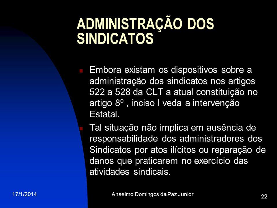17/1/2014Anselmo Domingos da Paz Junior 22 ADMINISTRAÇÃO DOS SINDICATOS Embora existam os dispositivos sobre a administração dos sindicatos nos artigo