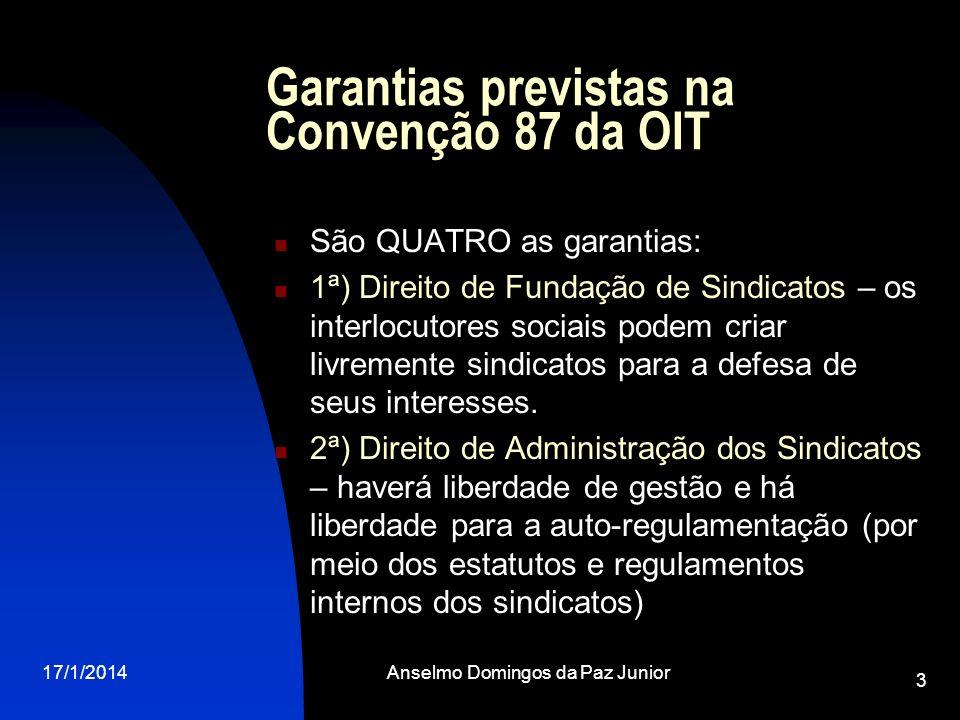 17/1/2014Anselmo Domingos da Paz Junior 3 Garantias previstas na Convenção 87 da OIT São QUATRO as garantias: 1ª) Direito de Fundação de Sindicatos –