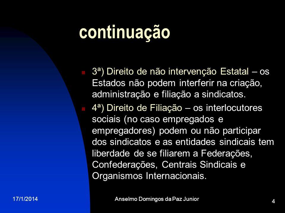 17/1/2014Anselmo Domingos da Paz Junior 15 O sindicato A definição geral de sindicato consta do artigo 511 da CLT.