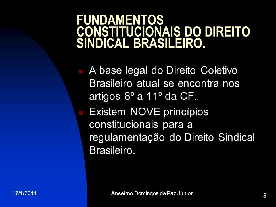 17/1/2014Anselmo Domingos da Paz Junior 5 FUNDAMENTOS CONSTITUCIONAIS DO DIREITO SINDICAL BRASILEIRO. A base legal do Direito Coletivo Brasileiro atua