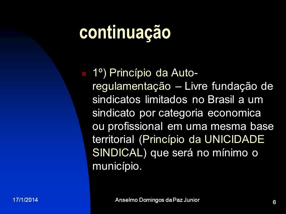 17/1/2014Anselmo Domingos da Paz Junior 7 continuação 2º) Princípio Confederativo – Os sindicatos são organizados no Brasil de forma vertical – Na base temos os sindicatos, depois as Federações (reuniões de sindicatos) e por fim as Confederações (reuniões de Federações).