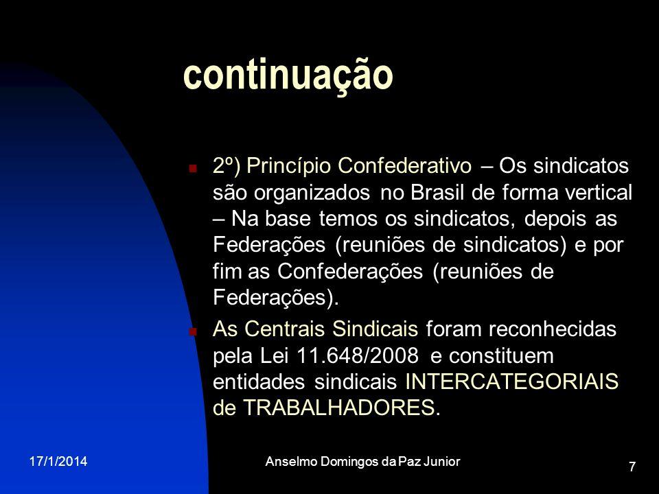 17/1/2014Anselmo Domingos da Paz Junior 7 continuação 2º) Princípio Confederativo – Os sindicatos são organizados no Brasil de forma vertical – Na bas