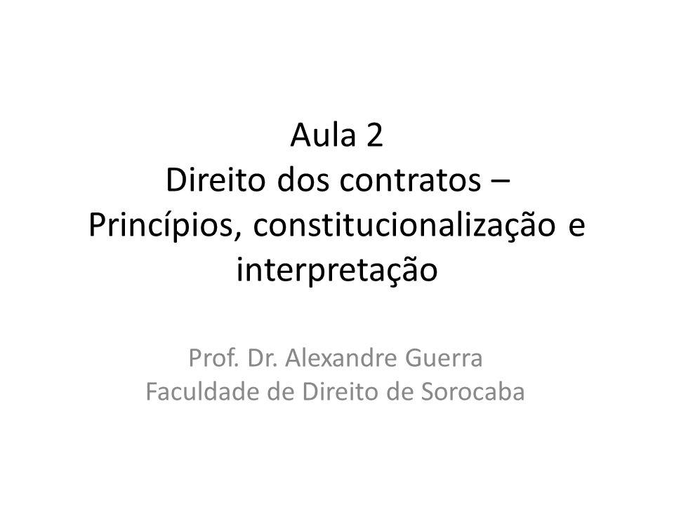 Aula 2 Direito dos contratos – Princípios, constitucionalização e interpretação Prof. Dr. Alexandre Guerra Faculdade de Direito de Sorocaba