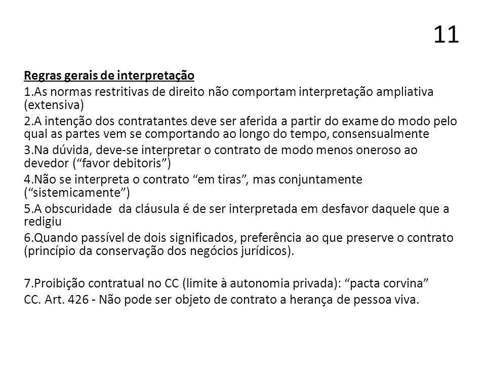 11 Regras gerais de interpretação 1.As normas restritivas de direito não comportam interpretação ampliativa (extensiva) 2.A intenção dos contratantes