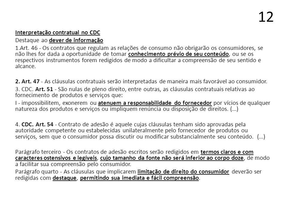 12 Interpretação contratual no CDC Destaque ao dever de informação 1.Art. 46 - Os contratos que regulam as relações de consumo não obrigarão os consum