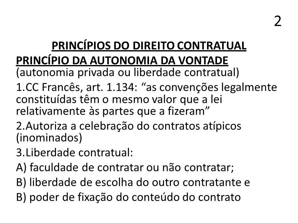 2 PRINCÍPIOS DO DIREITO CONTRATUAL PRINCÍPIO DA AUTONOMIA DA VONTADE (autonomia privada ou liberdade contratual) 1.CC Francês, art. 1.134: as convençõ
