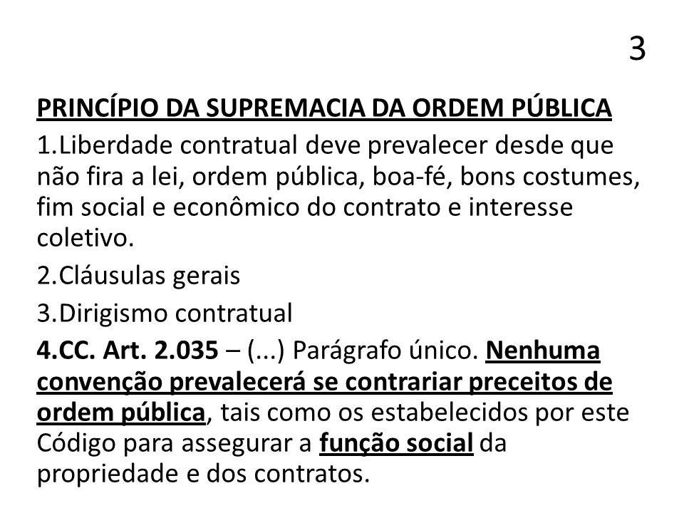 3 PRINCÍPIO DA SUPREMACIA DA ORDEM PÚBLICA 1.Liberdade contratual deve prevalecer desde que não fira a lei, ordem pública, boa-fé, bons costumes, fim