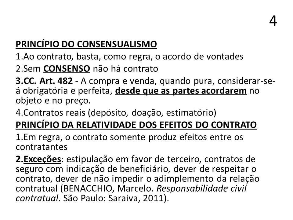 4 PRINCÍPIO DO CONSENSUALISMO 1.Ao contrato, basta, como regra, o acordo de vontades 2.Sem CONSENSO não há contrato 3.CC. Art. 482 - A compra e venda,