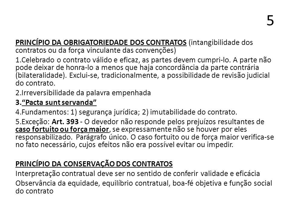 5 PRINCÍPIO DA OBRIGATORIEDADE DOS CONTRATOS (intangibilidade dos contratos ou da força vinculante das convenções) 1.Celebrado o contrato válido e efi
