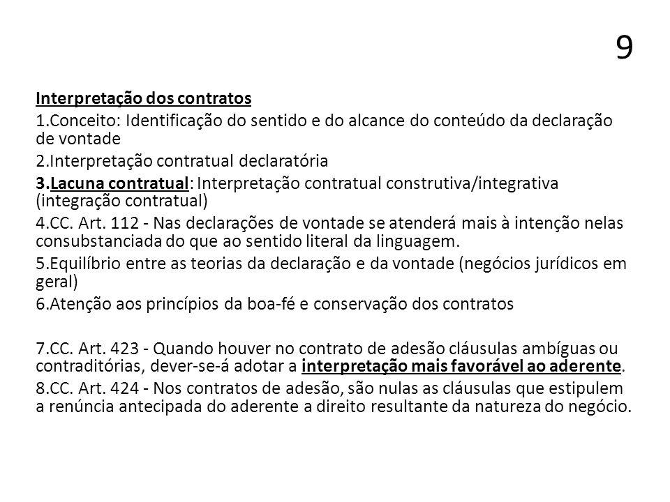 9 Interpretação dos contratos 1.Conceito: Identificação do sentido e do alcance do conteúdo da declaração de vontade 2.Interpretação contratual declar