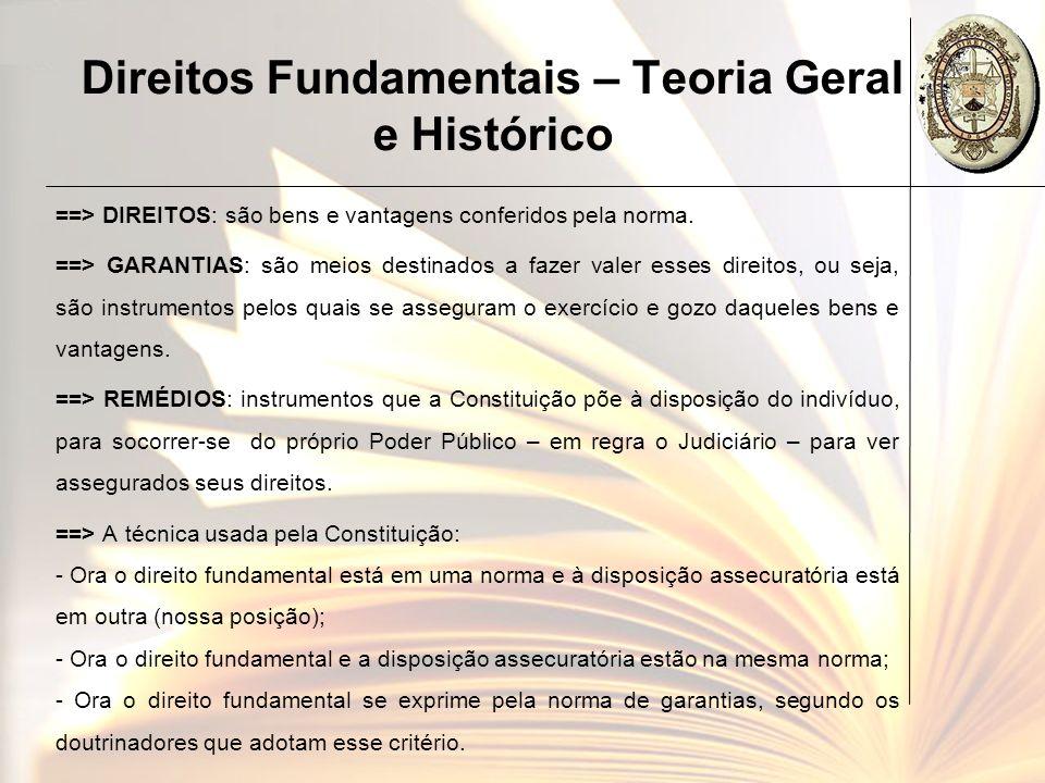 Direitos Fundamentais – Teoria Geral e Histórico ==> DIREITOS: são bens e vantagens conferidos pela norma. ==> GARANTIAS: são meios destinados a fazer