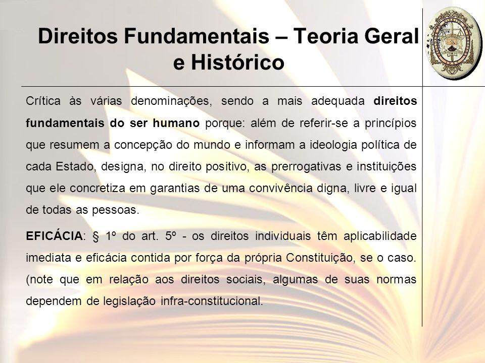 Direitos Fundamentais – Teoria Geral e Histórico EFICÁCIA: § 2º do art.