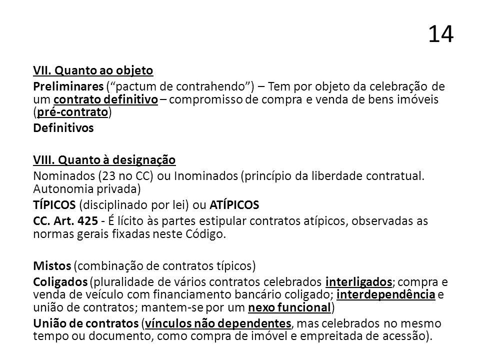14 VII. Quanto ao objeto Preliminares (pactum de contrahendo) – Tem por objeto da celebração de um contrato definitivo – compromisso de compra e venda