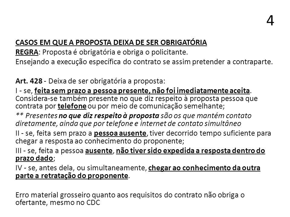 4 CASOS EM QUE A PROPOSTA DEIXA DE SER OBRIGATÓRIA REGRA: Proposta é obrigatória e obriga o policitante. Ensejando a execução específica do contrato s