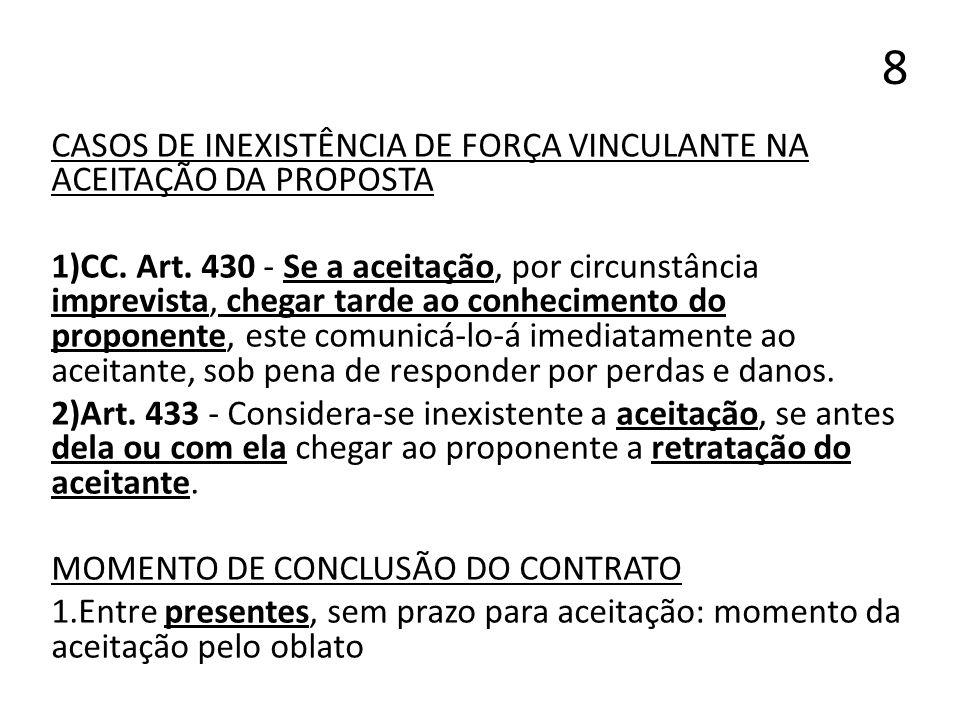 8 CASOS DE INEXISTÊNCIA DE FORÇA VINCULANTE NA ACEITAÇÃO DA PROPOSTA 1)CC. Art. 430 - Se a aceitação, por circunstância imprevista, chegar tarde ao co