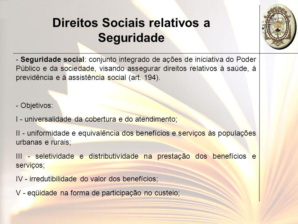 Direitos Sociais relativos a Seguridade - Seguridade social: conjunto integrado de ações de iniciativa do Poder Público e da sociedade, visando assegu